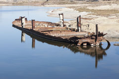 Aral Sea - kazakhstan. Wrecks of old abnadoned ships, Aral Sea Royalty Free Stock Images