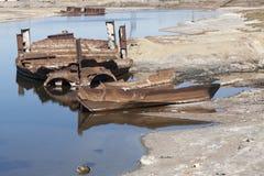 Aral Sea - kazakhstan. Wrecks of old abnadoned ships, Aral Sea Stock Photo