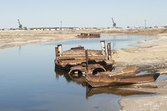 Aral Sea - kazakhstan. Wrecks of old abnadoned ships, Aral Sea Stock Photography