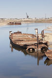 Aral Sea - kazakhstan. Wrecks of old abnadoned ships, Aral Sea Royalty Free Stock Image