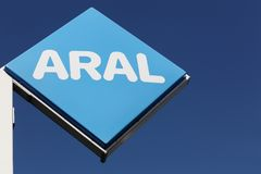 Aral sign on a panel. Kiel, Germany - June 4, 2016: Aral sign on a panel. Aral is a brand of automobile fuels and petrol stations, present in Germany and Stock Photos