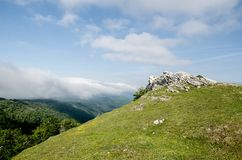 The Aralar Range. (Basque pronunciation: [aˈɾalar]) is a mountain range in the Basque Mountains of Southern Basque Country Stock Image