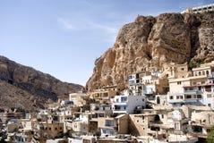 Aramaic village, Maalula, Syria. Aramaic is a Semitic language belonging to the Afroasiatic language family. Within this family, Aramaic belongs to the Semitic Stock Photography