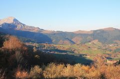 Aramaio, Basque Country. View of Aramaio with Mount Anboto in the background, in autumn; Araba, Basque Country Royalty Free Stock Photos