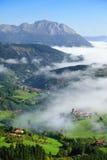Aramaio valley at foggy morning Royalty Free Stock Photos