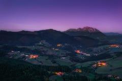 Aramaio valley at night Royalty Free Stock Image