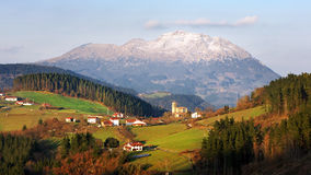 Aramaio valley with some villages surrounding mountains. In Basque Country Stock Images