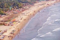 Arambol海滩 从天空的看法,从上面, aerophoto,点 免版税库存图片