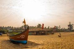 Arambol beach, Fishing boats. Goa state, India. Royalty Free Stock Photo