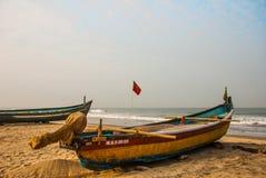Arambol beach, Fishing boats. Goa state, India. Stock Images