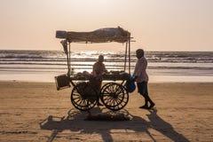 ARAMBOL BEACH, GOA, INDIA - FEBRUARY 23, 2017: Coconuts for sale. At flea market on Arambol beach at sunset in Goa, India on February 23, 2017 Stock Photos