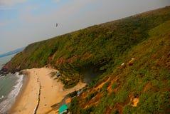 Arambol beach, Goa state, India. Beauty Arambol beach landscape. Panorama, top view. Goa state India Royalty Free Stock Image
