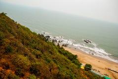 Arambol beach, Goa state, India. Beauty Arambol beach landscape. Panorama, top view. Goa state India Stock Images