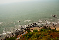Arambol beach, Goa state, India. Beauty Arambol beach landscape. Panorama, top view. Goa state India Royalty Free Stock Photos