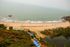 Arambol beach, Goa state, India. Beauty Arambol beach landscape. Panorama, top view. Goa state India Royalty Free Stock Images