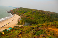 Arambol beach, Goa state, India. Beauty Arambol beach landscape. Panorama, top view. Goa state India Stock Photography