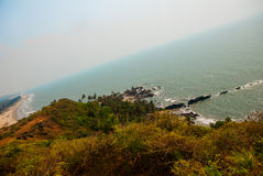 Arambol beach, Goa state, India. Beauty Arambol beach landscape. Panorama, top view. Goa state India Royalty Free Stock Photo