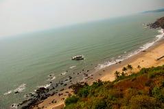 Arambol beach, Goa state, India. Beauty Arambol beach landscape. Panorama, top view. Goa state India Royalty Free Stock Photography