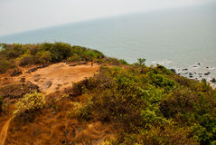 Arambol beach, Goa state, India. Beauty Arambol beach landscape. Panorama, top view. Goa state India Royalty Free Stock Images