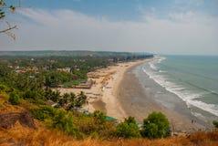 Arambol beach, Goa state, India. Beauty Arambol beach landscape. Panorama, top view. Goa state India Stock Image