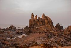 Arambol beach, Goa state, India. Rocks, stones, sea. Beauty Arambol beach landscape Goa state India Royalty Free Stock Images