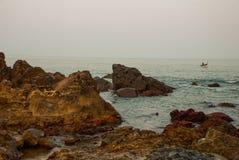 Arambol beach, Goa state, India. Rocks, stones, sea. Beauty Arambol beach landscape Goa state India Royalty Free Stock Image