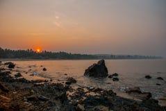 Arambol beach, Goa state, India. Sunset. Royalty Free Stock Photos