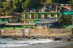 Arambol beach huts. View of the northern side of arambol beach, january 2015 Stock Photo