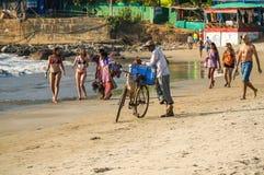Arambol beach. People on arambol beach and ice cream seller, january 2015 Royalty Free Stock Image