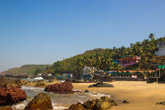 Arambol beach with stones, palms and houses, Goa, India Stock Photo