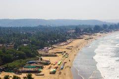 Arambol beach top view, palms, beach and Arabian sea, Goa, India.  Stock Photo
