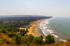 Arambol beach top view, palms, beach and Arabian sea, Goa, India.  Royalty Free Stock Images