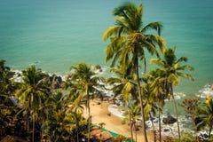 Arambol beach top view, palms, beach and Arabian sea, Goa, India.  Stock Images