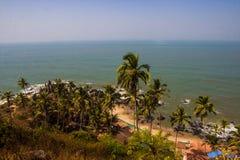 Arambol beach top view, palms, beach and Arabian sea, Goa, India.  Stock Photography