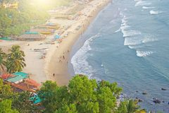 Arambol Beach. View from the sky, from  above, aerophoto, point. Of view. View of the beach. Long beautiful beach, top view. People walk on the beach, relax on Royalty Free Stock Photography