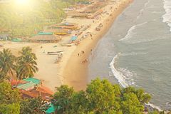 Arambol Beach. View from the sky, from  above, aerophoto, point. Of view. View of the beach. Long beautiful beach, top view. People walk on the beach, relax on Stock Photo