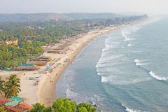 Arambol Beach. View from the sky, from above, aerophoto, point royalty free stock photo