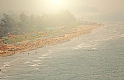 Arambol Beach. View from the sky, from above, aerophoto, point stock photography