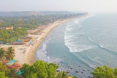 Arambol Beach. View from the sky, from above, aerophoto, point royalty free stock photos