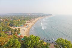 Arambol Beach. View from the sky, from above, aerophoto, point royalty free stock image