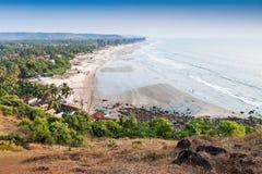 Arambol beach. View to Arambol beach from the hill, Goa Royalty Free Stock Image