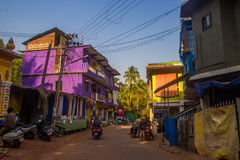 ARAMBOL, GOA, INDIA - MARCH 1, 2017: Street in Arambol, North Go. A, India on March 1 Royalty Free Stock Images