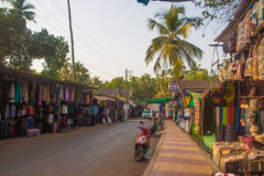 ARAMBOL, GOA, INDIA - MARCH 1, 2017: Street in Arambol, North Go. A, India on March 1 Stock Photography