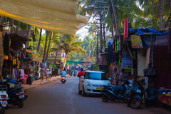 ARAMBOL, GOA, INDIA - MARCH 1, 2017: Street in Arambol, North Go. A, India on March 1 Royalty Free Stock Image