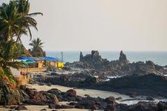 Arambol huts. Northern side of arambol, january 2015 Royalty Free Stock Image