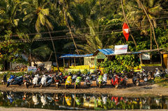 Arambol huts and scooter parking. View of the northern side of arambol beach, january 2015 Stock Images