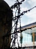 Arame farpado, casa protegida no concreto no asiático fotografia de stock