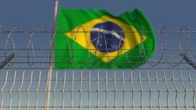Arame farpado contra a bandeira de ondulação de Brasil Animação de Loopable 3D ilustração do vetor