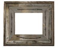 Arame farpado de madeira resistido do quadro da foto isolado Imagens de Stock Royalty Free