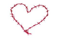 Arame farpado Heart-shaped fotos de stock royalty free
